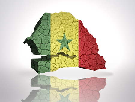 dakar: Map of senegal with senegalese Flag on a white background