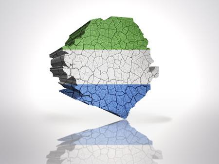 sierra: Map of sierra leone with sierra leone Flag on a white background
