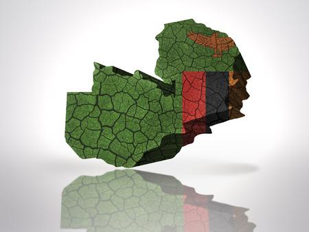 zambian flag: Map of zambia with zambian Flag on a white background