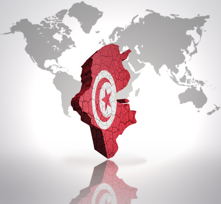northern african: Map of tunisia with tunisian Flag on a world map background Stock Photo