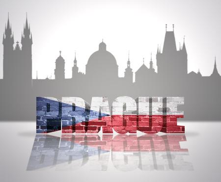 Word Prague with national flag of Czech Republic  near skyline silhouette photo