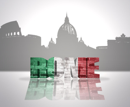 Word Rome with national flag of italy near skyline silhouette photo