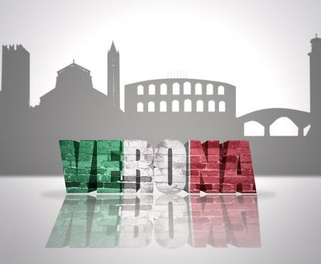 Word Verona with national flag of italy near skyline silhouette photo