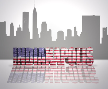 Word Indianapolis with National Flag of USA near skyline silhouette photo