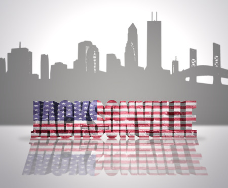 Word Jacksonville with National Flag of USA near skyline silhouette photo