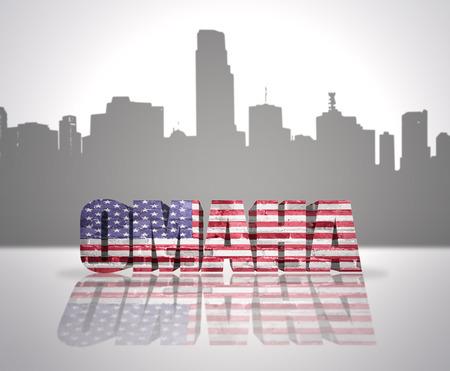 omaha: Word Omaha with National Flag of USA near skyline silhouette Stock Photo