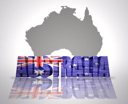 Word Australia with National Flag near map of Australia photo