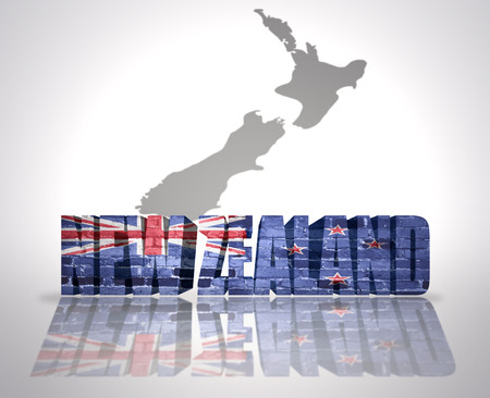 new zealand word: Word New Zealand with National Flag near map of New Zealand