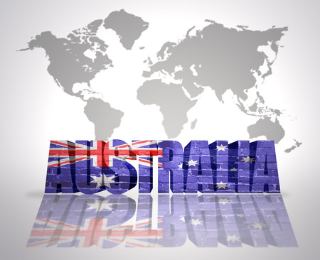 Word australia with australian flag on a world map background stock stock photo word australia with australian flag on a world map background gumiabroncs Choice Image