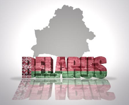 belarus: Word Belarus  with National Flag near map of  Belarus