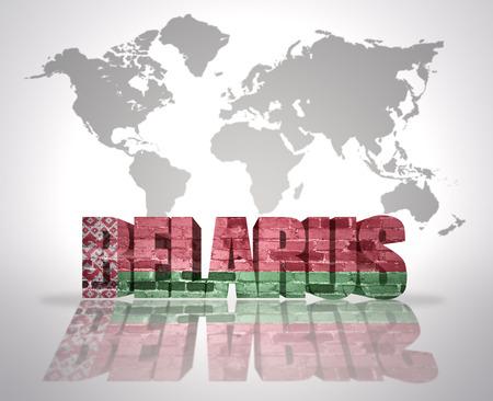 belorussian: Word Belarus with belorussian Flag on a world map background