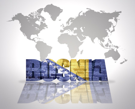 bosnian: Word Bosnia with Bosnian Flag on a world map background Stock Photo