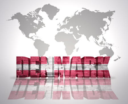danish flag: Word Denmark with danish Flag on a world map background