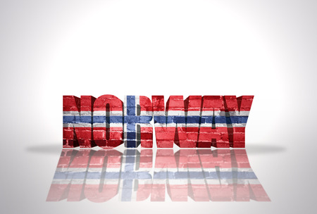 Word Norway with National Flag on the white background photo