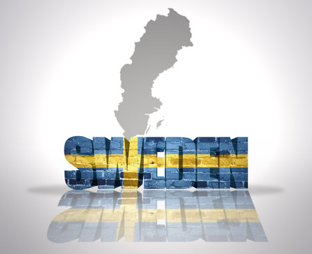 Word Sweden with National Flag near map of Sweden photo