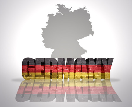 Word Germany with National Flag near map of Germany photo