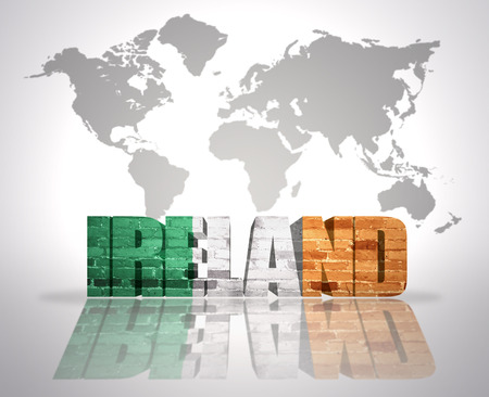 ireland cities: Word Ireland with irish Flag on a world map background