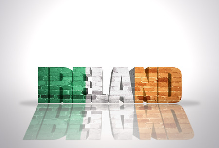 irish cities: Word Ireland with National Flag on the white background