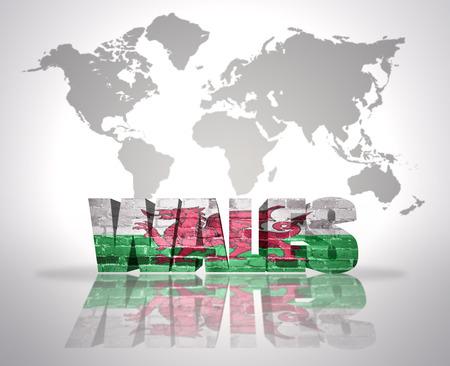 welsh flag: Parola Galles Welsh Flag su una mappa del mondo di fondo