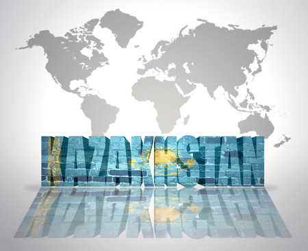 kazakh: Word Kazakhstan with Kazakh Flag on a world map background