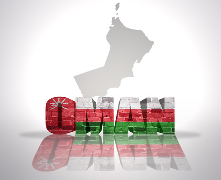 Word Oman with National Flag near map of Oman Stock Photo