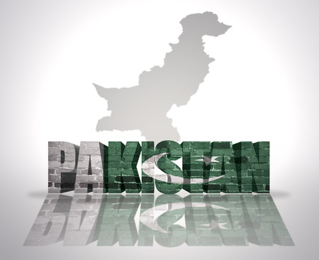 mideast: Word Pakistan with National Flag near map of Pakistan Stock Photo