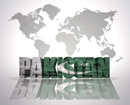 pakistani pakistan: Word Pakistan with Pakistani Flag on a world map background Stock Photo