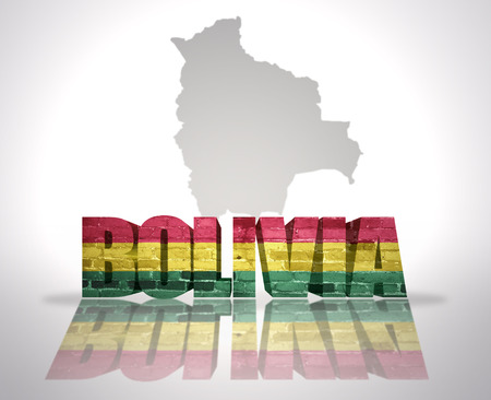 mapa de bolivia: Palabra Bolivia con la bandera nacional de cerca mapa de Bolivia