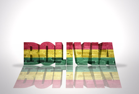 Word Bolivia with National Flag on the white background photo