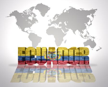 ecuadorian: Word Ecuador with Ecuadorian Flag on a world map background