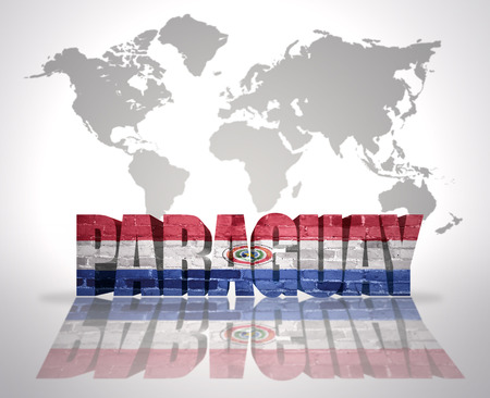 paraguayan: Word Paraguay with Paraguayan Flag on a world map background