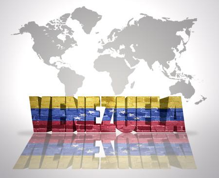 venezuelan: Word Venezuela with Venezuelan Flag on a world map background Stock Photo