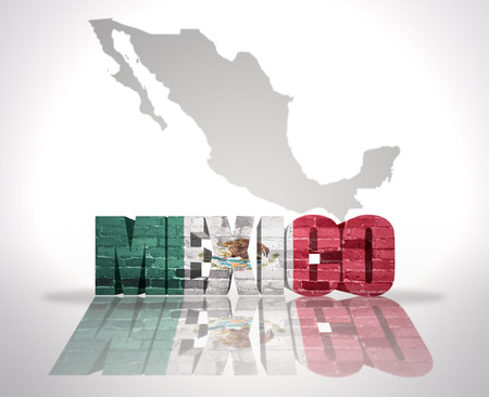 Word Mexico with National Flag near map of Mexico photo