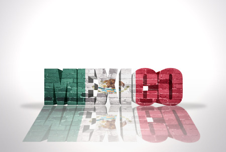 Word Mexico with National Flag on the white background photo