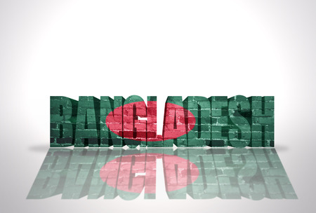 bangladesh 3d: Word Bangladesh with National Flag on the white background Stock Photo