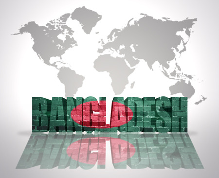 Word Bangladesh with Bangladeshi Flag on a world map background