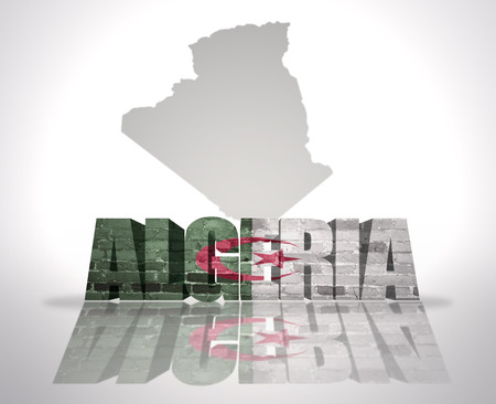 Word Algeria with National Flag near map of Algeria photo