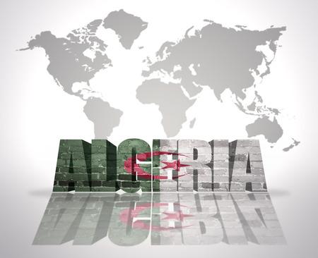 algerian flag: Word Algeria with Algerian Flag on a world map background Stock Photo