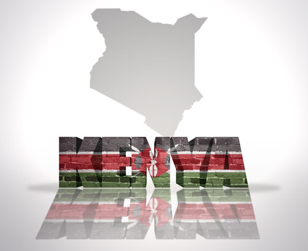 Word Kenya with National Flag near map of Kenya photo