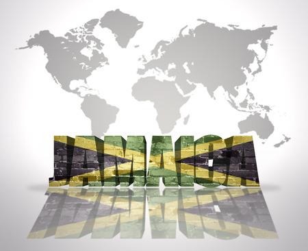 jamaican flag: Word Jamaica with Jamaican Flag on a world map background