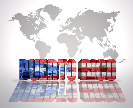 puerto rican: Word Puerto Rico with Puerto Rican Flag on a world map background