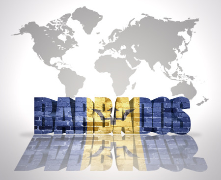 barbados: Word Barbados with Barbados Flag on a world map background