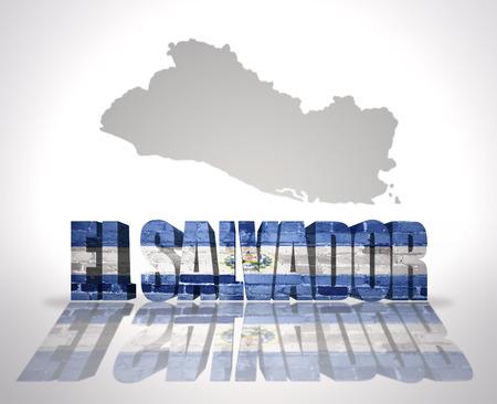 mapa de el salvador: Palabra El Salvador con la bandera nacional de cerca mapa de El Salvador