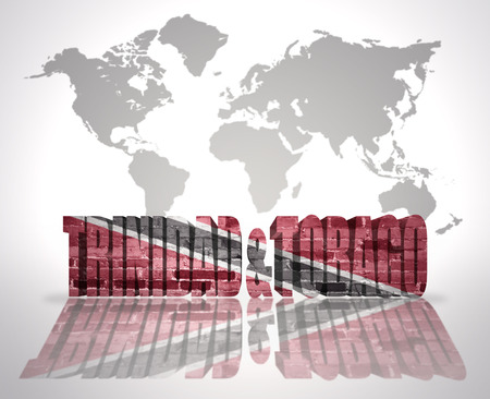 port of spain: Word Trinidad and Tobago with Trinidadian Flag on a world map background Stock Photo