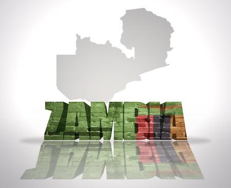 zambia: Word Zambia with National Flag near map of Zambia