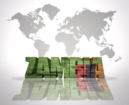 zambian flag: Word Zambia with Zambian Flag on a world map background