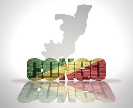 congo: Word Congo with National Flag near map of Congo Stock Photo