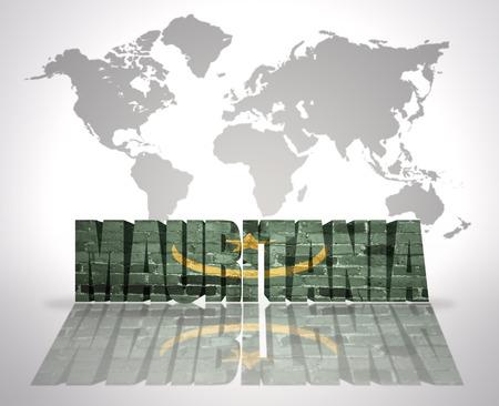 Word Mauritania with Moorish Flag on a world map background photo