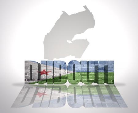 Word Djibouti with National Flag near map of Djibouti