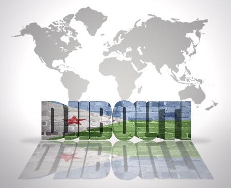djibouti: Word Djibouti with Djibouti Flag on a world map background